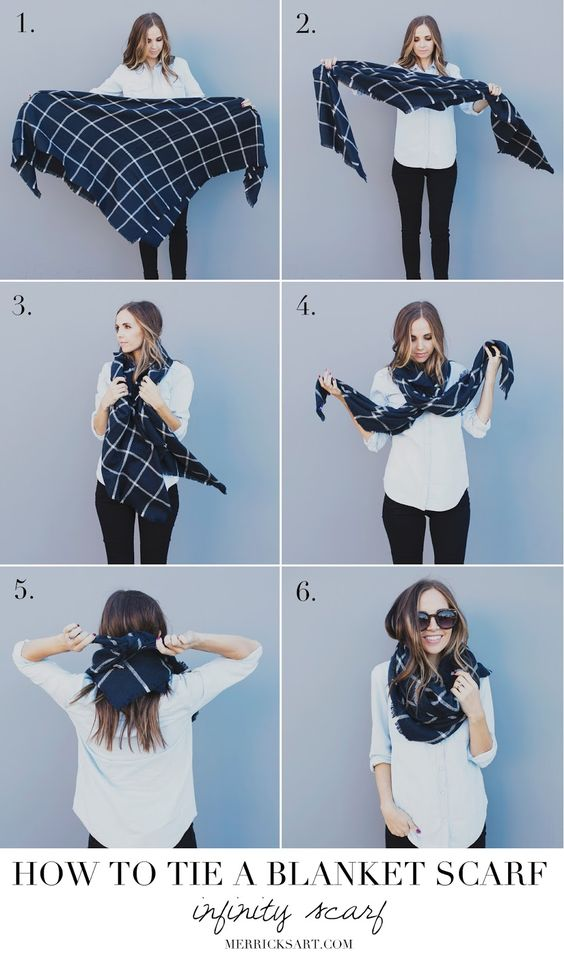 How to tie your blanket scarf into an infinity scarf: