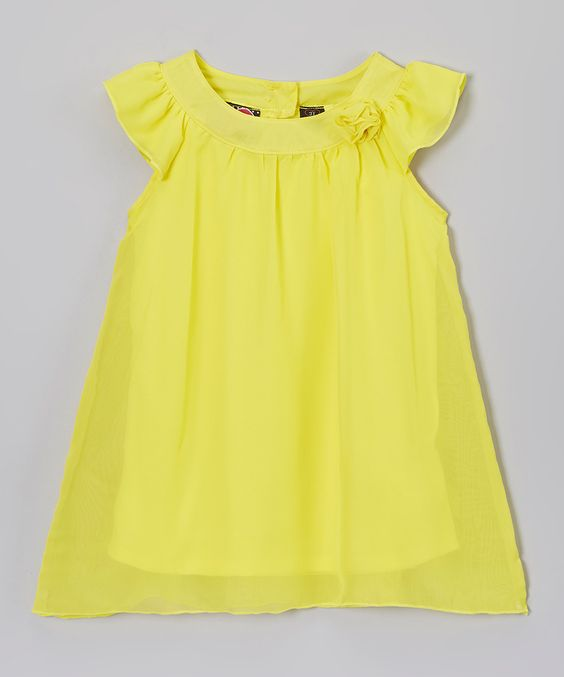Look at this Self Esteem Yellow Angel Sleeve Dress - Toddler