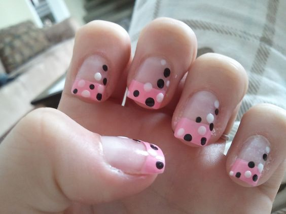 Pink White and Black Polka Dot French