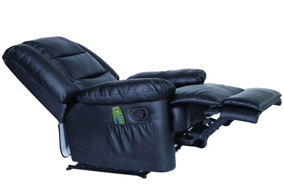 LA Recliner Massage Lounger Arm Chair Real Bonded Leather Black