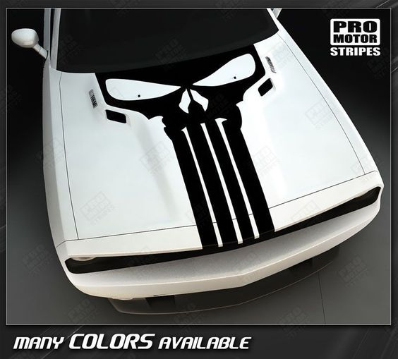 Dodge Challenger Punisher Skull Hood Stripe 2008 2009 2010 2011 2012 2013 2014