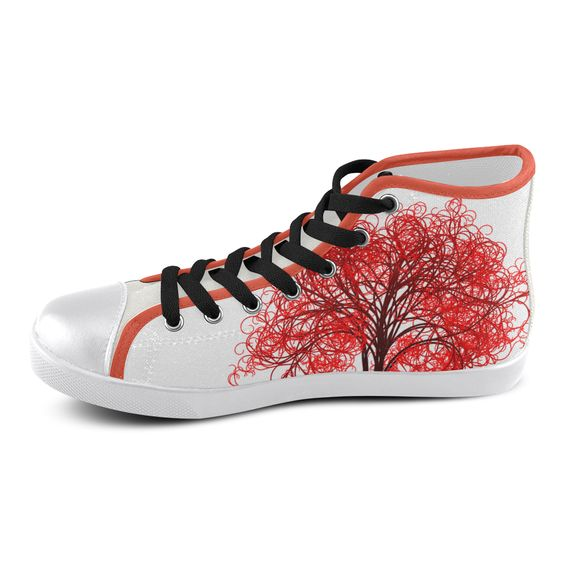 Personalized custom design flower Women's High Top Canvas Shoes.