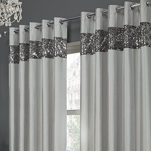 Tony S Textiles Rio Sequin Embroidered Eyelet Grommet Set Of 2 Lined Curtain Panels Silver Gray 46 Wide X 54 Drop Review Curtains Glitter Room Glitter Bedroom