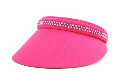 Ladies Small Clip-on Visor with Crystal - Hot Pink by Dolly Mama Designs.  Buy it @ ReadyGolf.com.