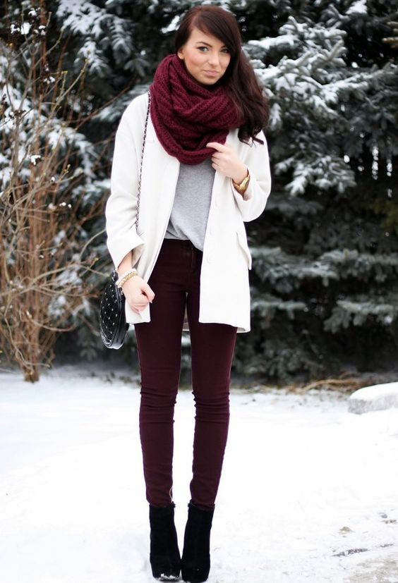 The scarf is too oversized, and throws off proportions. But the color is perfect for winter and the rest is adorable.
