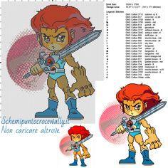 Chibi Lion-O (Thundercats) schemi gratis punto croce 150x179 25 colori