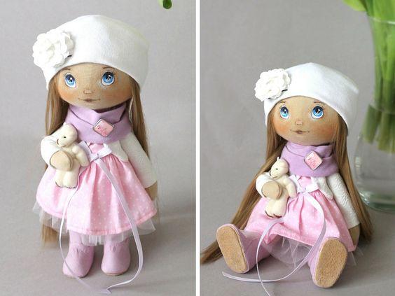 Солнечный кукла Тильда куклы Искусство куклы ручной работы розовый от AnnKirillartPlace: