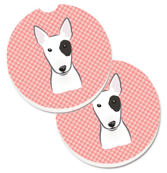 Checkerboard Pink Bull Terrier Set of 2 Cup Holder Car Coasters BB1209CARC