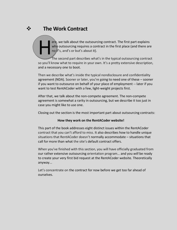 outsourcing contract RentACoder Pinterest - work contract agreement