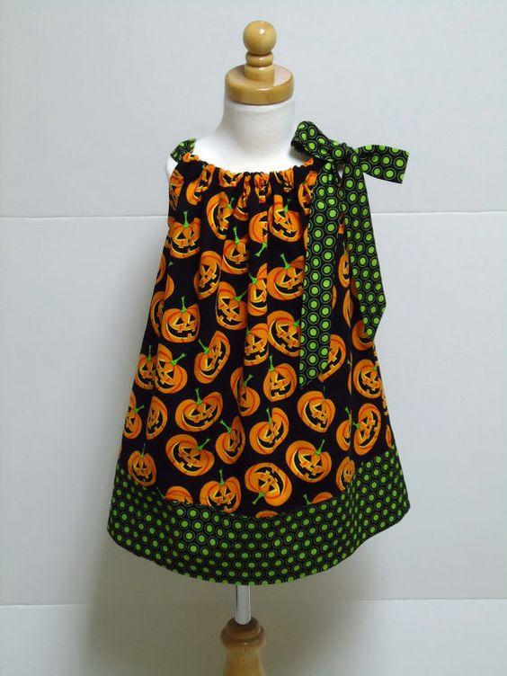 Girls Halloween Pillowcase Dress Pumpkin Black Green Polka Dot Size - 18 month halloween costume ideas