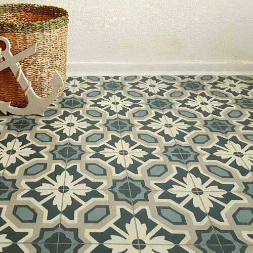 Floral Tile Effect Sheet Vinyl Flooring Cushioned Green Kitchen Amp Bathroom Lino Vinyl Flooring Floral Tiles Floor Tile Design