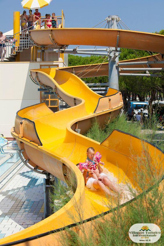 Dal nostro divertente #scivolo #giallo vi tufferete nella #piscina semi-olimpionica! Tutti i pomeriggi  arrivano i #giochi #gonfiabili sull'acqua per tutti i #bambini! *** From the funny #yellow #slide you'll dive directly into the #pool! Every afternoon there are #airgames on the water for all the #children!
