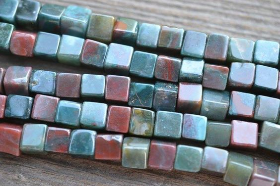 "Indian Agate / Fancy Jasper Cubes - 6mm - 8"" Strand"