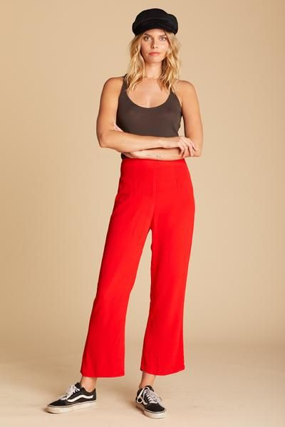 Kiss My Lips Parker Pant Red High Waisted Trouser Cropped Trouser