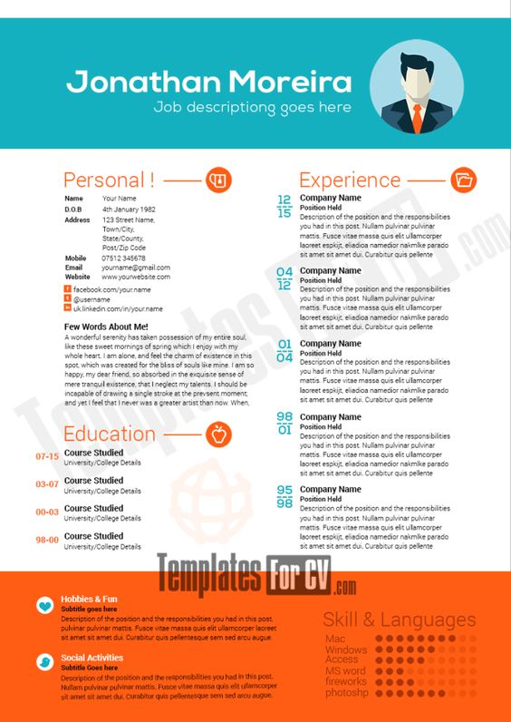 professional resume template preview image template cv