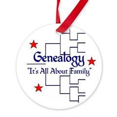 """Family Tree Chart Round Ornament > """"It's All About Family"""" > Genealogy Store USA"""