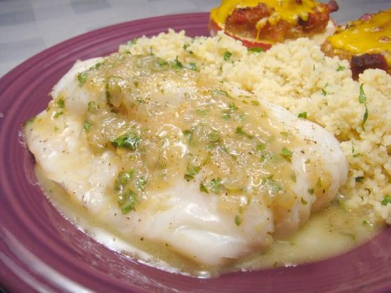 Grilled Fish  With Garlic, White Wine and Butter Sauce from Food.com:   								Recipe Adapted from Chef Bobby Flay - Food Network. An excellent recipe to prepare fish or shrimps over cooked pasta with a delicious taste.