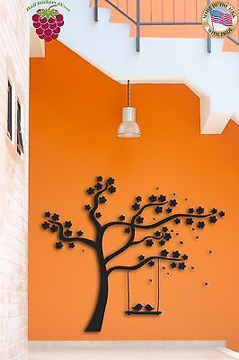Wall Sticker Tree Swings Birds Nice Decor For Bedroom Or Living Room z1524