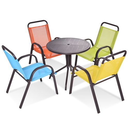 Patio Indoor 5 Pcs Kids Dining Table And Chairs Play Set Kids