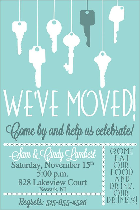 Key Moving Announcement  Housewarming Invitation New Home Announcement First Home
