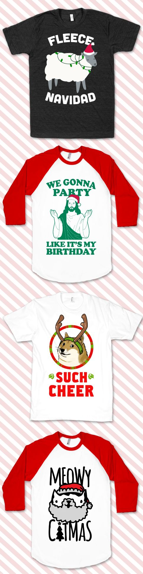 Celebrate Christmas time with all of these funny shirt designs. Perfect for gifts this season!