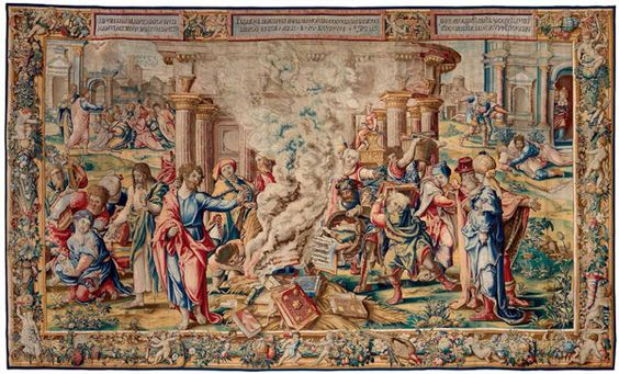 Saint Paul Directing the Burning of the Heathen Books from the Life of Saint Paul tapestry series. Designed by Pieter Coecke van Aelst, ca. 1529 or 1535. Tapestry probably woven under the direction of Jan van der Vyst, Brussels, probably before 1546.