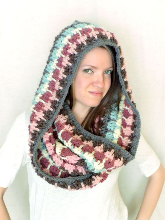 Ombre Pink Blue Grey Brown Crochet Chunky Hooded by RagdollChic