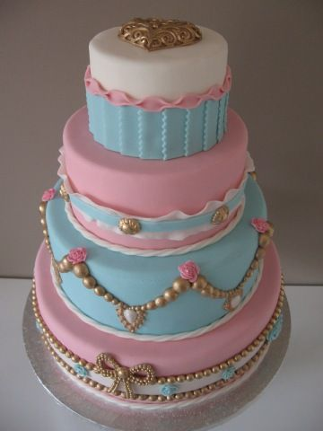 Barok Blauw Wit Roze.   Baroque blue, white, pink & gold: Cakes And Cupcakes, Cupcakes Taarten, Cakes Vintage, Antoinette Cakes, Cakes Tecniques, Cakes En, Wedding Cake