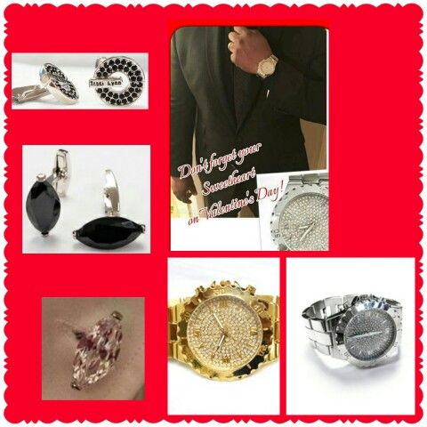 Order your sweetheart a beautiful watch and a pair of cufflinks today! Call 405 268 9456 http:// tracilynnfashionjewelry.net/20504
