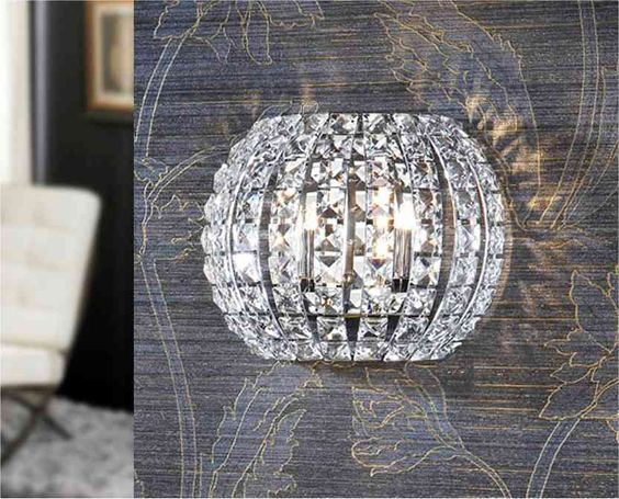 Wall Lights Crystal: Crystal Small Semi-Circular Wall Light Ref: VAL508323 == £157.09 inc VAT,Lighting