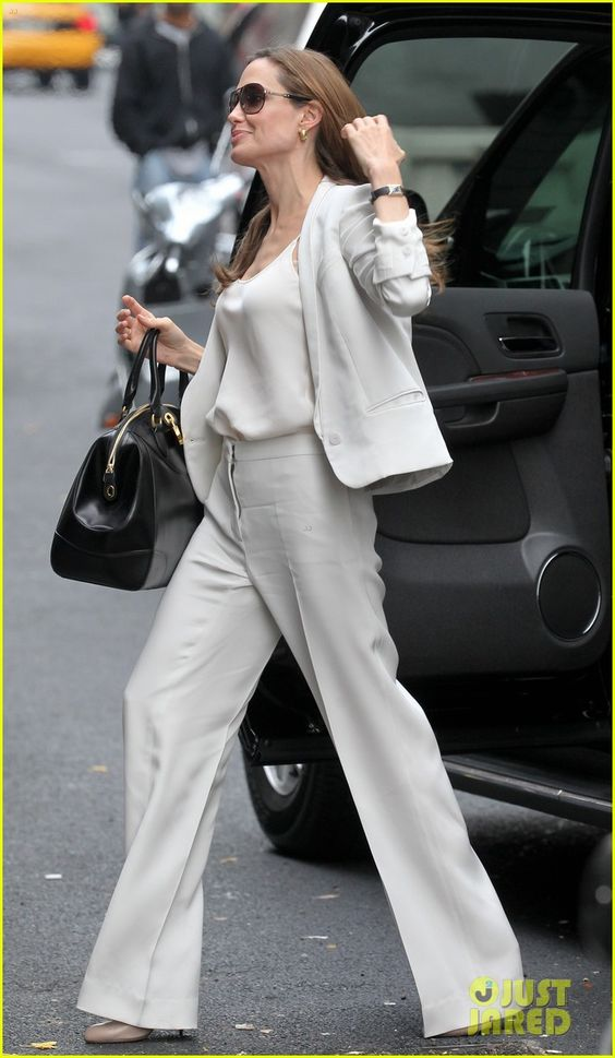Angelina Jolie Talks 'Blood & Honey,' Marriage | angelina jolie white suit nyc 02 - Photo