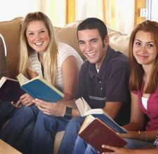Look at these happy youth having a bible study! In my basement.