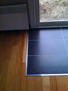 Mix parquet carrelage avec profile aluminium carreaux for Jonction entre parquet et carrelage