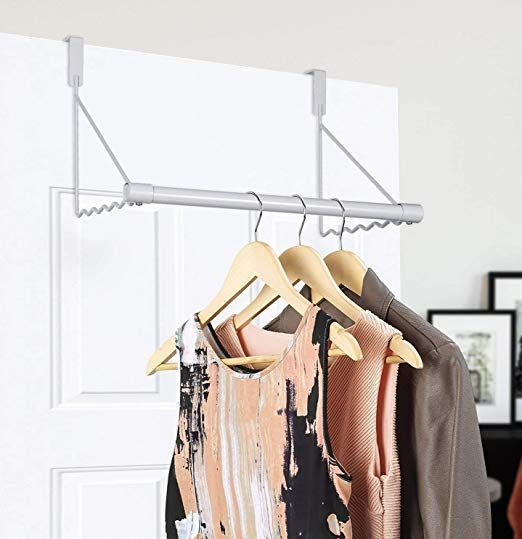 Umi Over The Door Closet Rod Metal Clothes Rack Organiser White Amazon Co Uk Amazon Co Uk Metal Clothes Rack Double Door Storage Cabinet