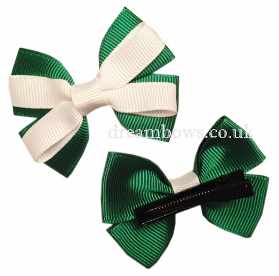 Emerald green and white grosgrain ribbon hair bows on alligator clips - £2.50 a pair at www.dreambows.co.uk #hairbows #greenbows #grosgrainribbon #ribbonhairbows #girls #fashion #style #hairstyles #handmade #craft #shopforbows #bowsforsale