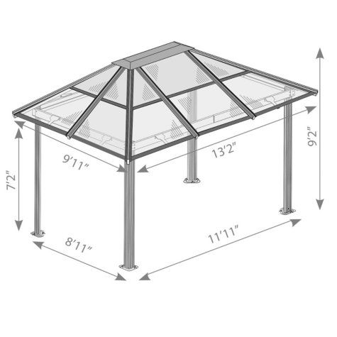 Madrid 10 X 13 Hard Top Gazebo Sam S Club House Cladding Carport Designs Roof Truss Design