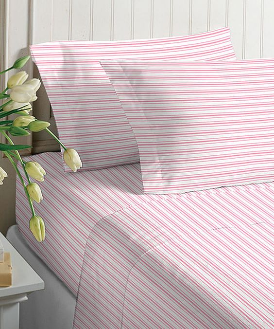 Look at this Pink Stripe Microfiber Sheet Set on #zulily today!