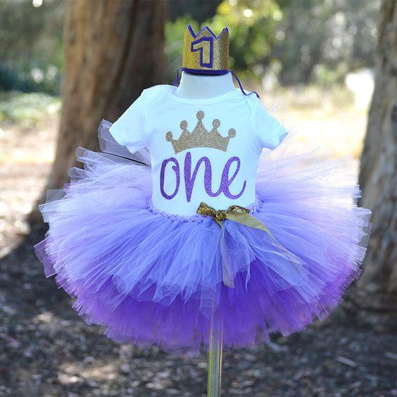 First Birthday Outfit baby girl Purple tutu by GABYROBBINSDESIGNS