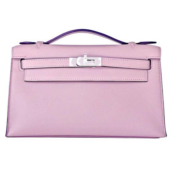 louis vuitton ostrich bag - Hermes Glycine Kelly Pochette Cut Clutch Bag Palladium | Hermes ...