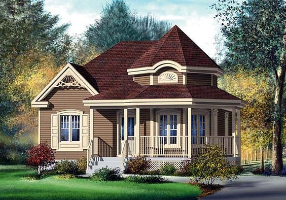 Victorian house plan 49571 single wide house and single for Cottage style garage plans
