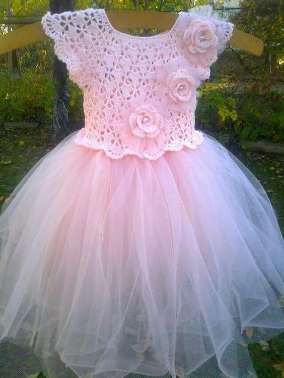 Aprende Hacer Hermosos Vestidos De Tul A Crochet Vestido De Niña Tejido A Ganchillo Vestidos Tejidos A Crochet Con Patrones Vestidos Para Bebés