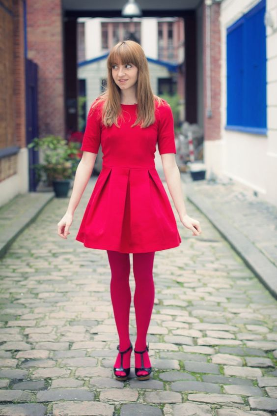 red dress red tights great shoes