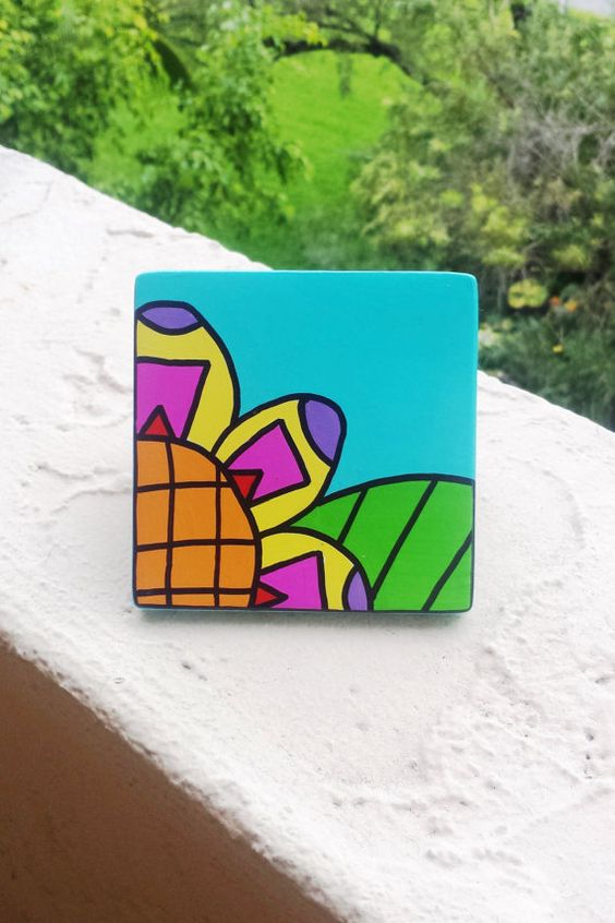 Hand Painted Ceramic Tile Turquoise Abstract Flower by Vivian Estalella