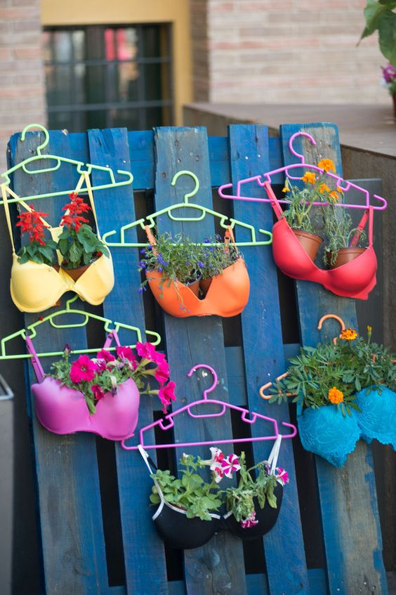 bra upcycling planter garden diy inspo