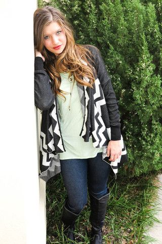 Picture of Black and White Chevron long sleeve cardigan