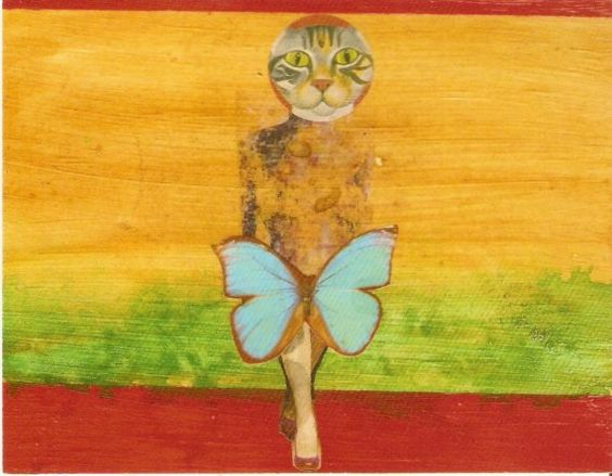 all we are cat butterfly woman in red pumps by Badart on Etsy