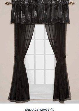 2 SETS Rosalyn Black Rose Floral Curtain Set (4 Panels) | Curtains ...
