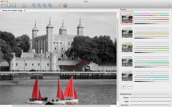 Tintii (Plugin) designed to handle full-color photos into black / white with a choice of a certain color, a method known as the color Popping or selective staining.