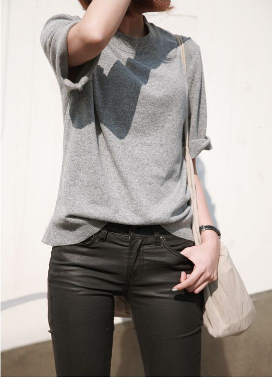 coated black jeans   grey cashmere short sleeved sweater    Death by Elocution