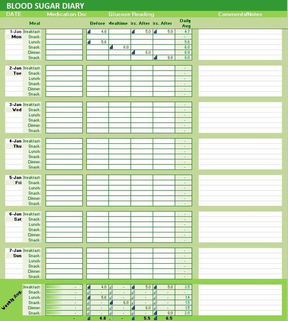 Blood Sugar Diary Excel Template, Glucose Levels Tracker - log templates excel